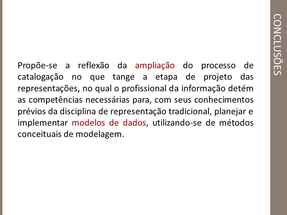 CONCLUSÕES Propõe-se a reflexão da ampliação do processo de catalogação no que tange a etapa de projeto das representações, no qual o profissional da