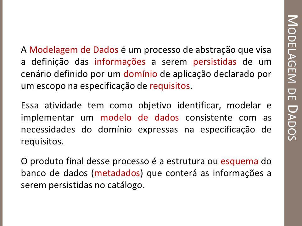 M ODELAGEM DE D ADOS A Modelagem de Dados é um processo de abstração que visa a definição das informações a serem persistidas de um cenário definido p