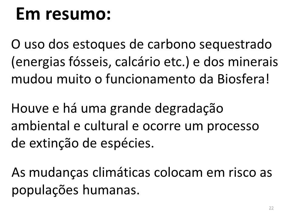 22 O uso dos estoques de carbono sequestrado (energias fósseis, calcário etc.) e dos minerais mudou muito o funcionamento da Biosfera.