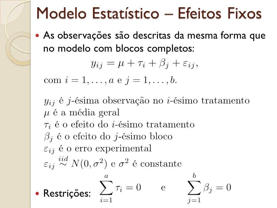 Modelo Estatístico – Efeitos Fixos As observações são descritas da mesma forma que no modelo com blocos completos: Restrições: