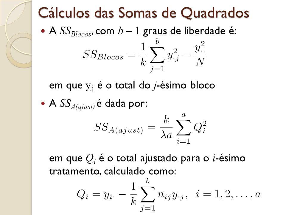 Cálculos das Somas de Quadrados A SS Blocos, com b – 1 graus de liberdade é: em que y.j é o total do j -ésimo bloco A SS A(ajust) é dada por: em que Q