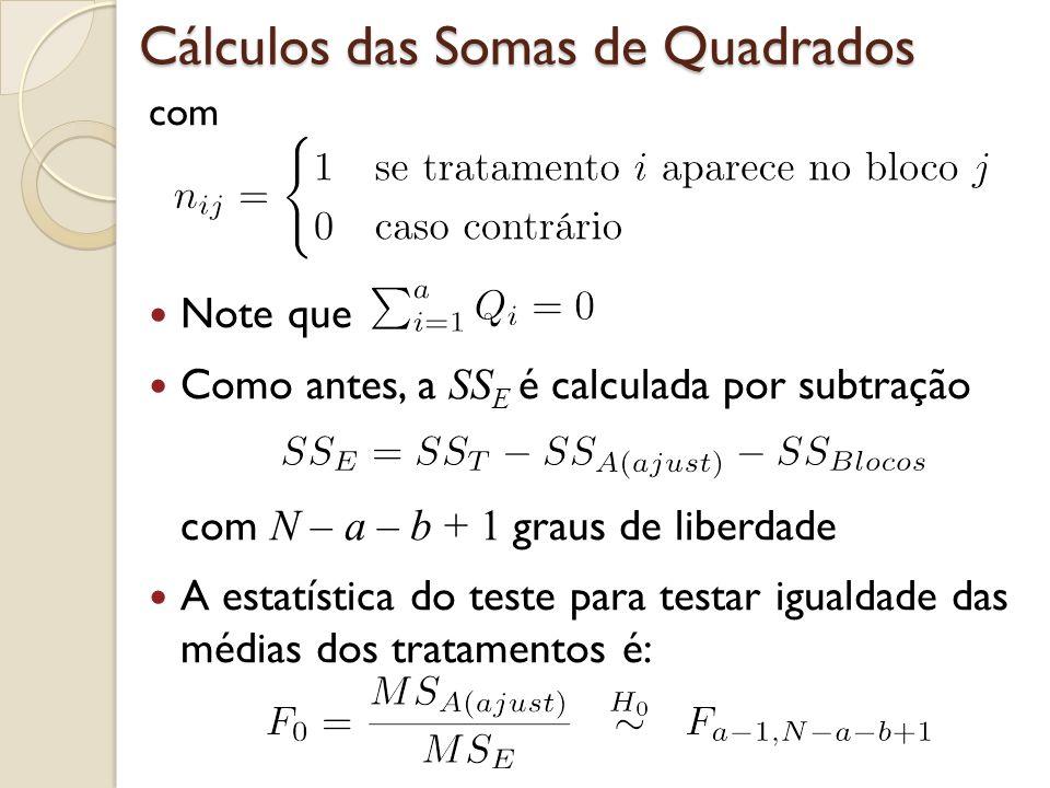 Cálculos das Somas de Quadrados com Note que Como antes, a SS E é calculada por subtração com N – a – b + 1 graus de liberdade A estatística do teste
