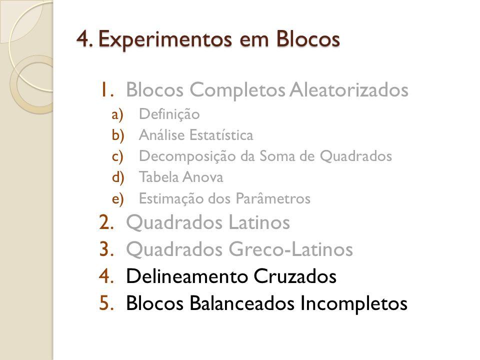 4. Experimentos em Blocos 1.Blocos Completos Aleatorizados a)Definição b)Análise Estatística c)Decomposição da Soma de Quadrados d)Tabela Anova e)Esti