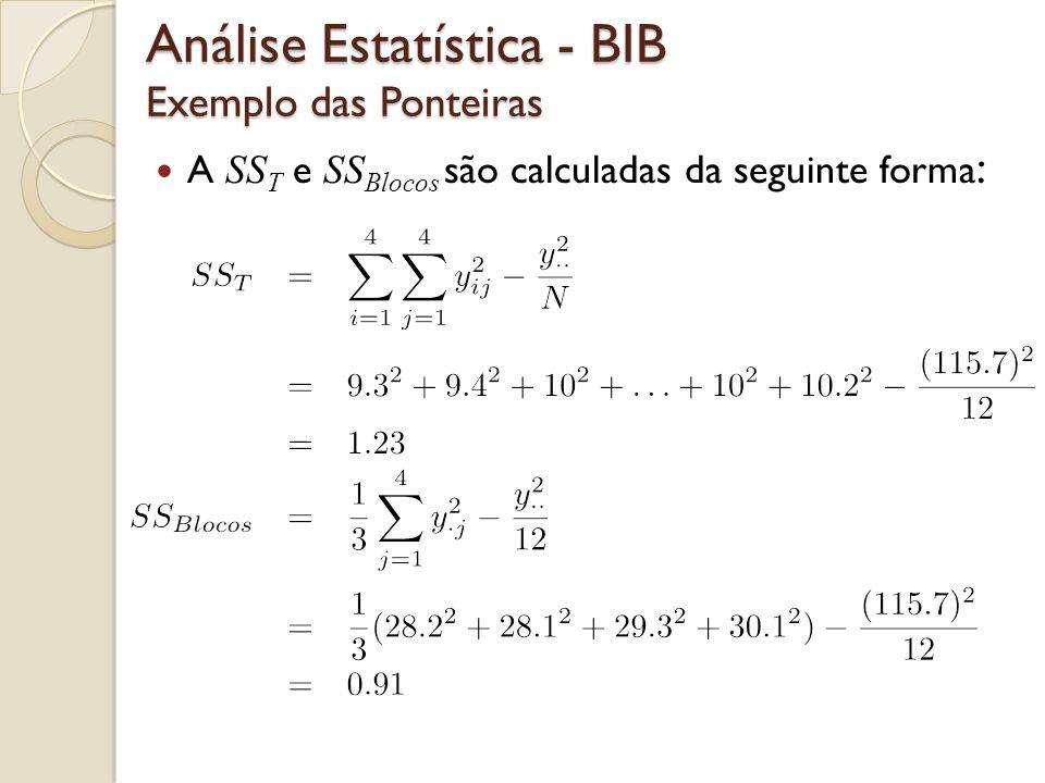 A SS T e SS Blocos são calculadas da seguinte forma : Análise Estatística - BIB Exemplo das Ponteiras