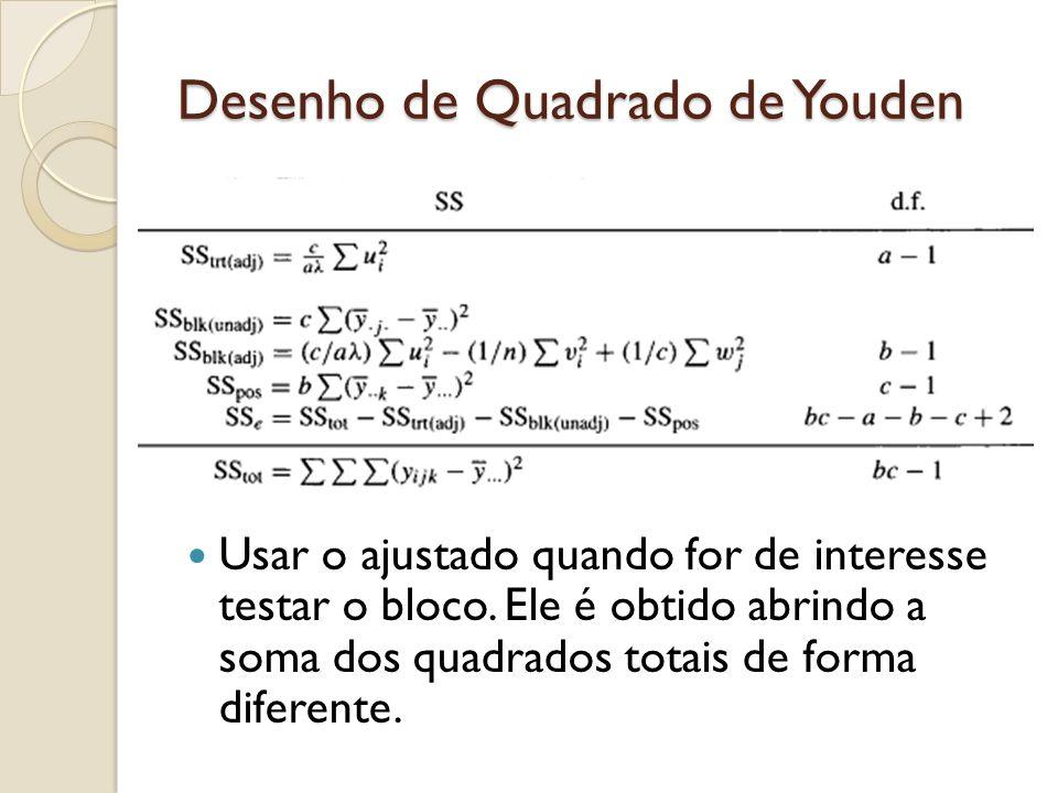 Usar o ajustado quando for de interesse testar o bloco. Ele é obtido abrindo a soma dos quadrados totais de forma diferente.