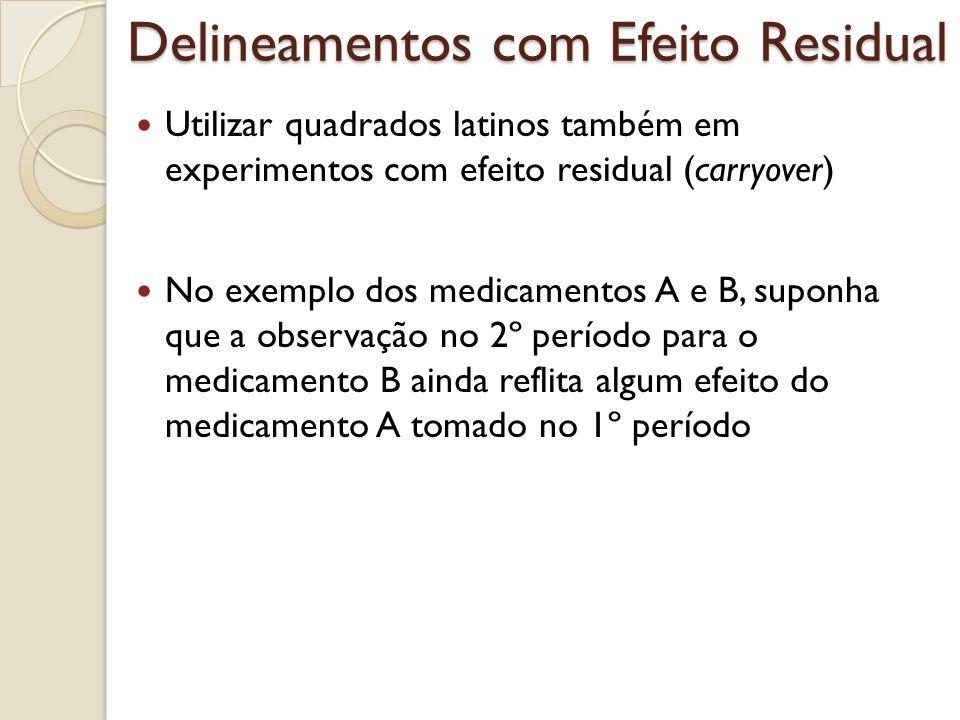 Delineamentos com Efeito Residual Utilizar quadrados latinos também em experimentos com efeito residual (carryover) No exemplo dos medicamentos A e B,
