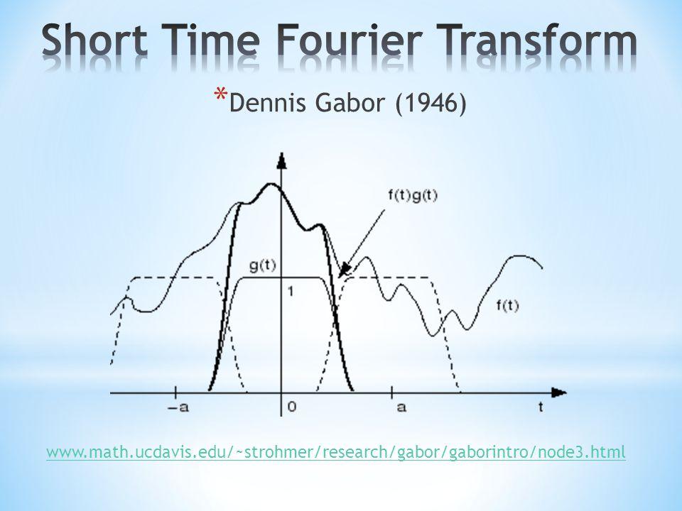 * Dennis Gabor (1946) www.math.ucdavis.edu/~strohmer/research/gabor/gaborintro/node3.html