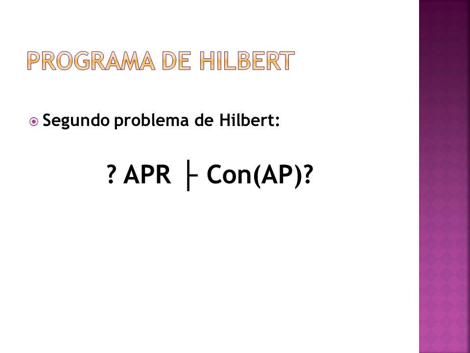 Segundo problema de Hilbert: ? APR Con(AP)?