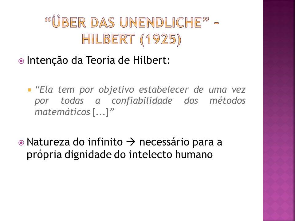 Intenção da Teoria de Hilbert: Ela tem por objetivo estabelecer de uma vez por todas a confiabilidade dos métodos matemáticos [...] Natureza do infini
