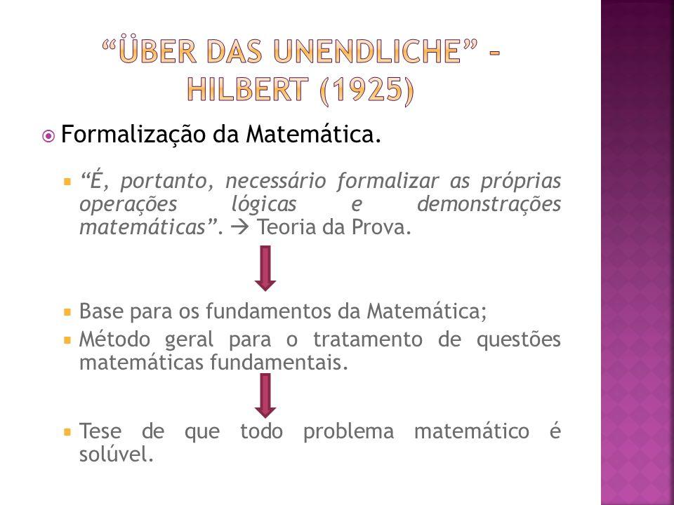 Formalização da Matemática. É, portanto, necessário formalizar as próprias operações lógicas e demonstrações matemáticas. Teoria da Prova. Base para o