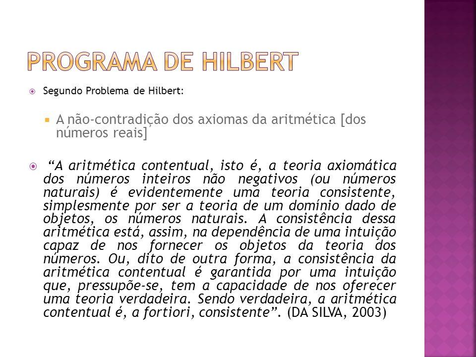 Segundo Problema de Hilbert: A não-contradição dos axiomas da aritmética [dos números reais] A aritmética contentual, isto é, a teoria axiomática dos