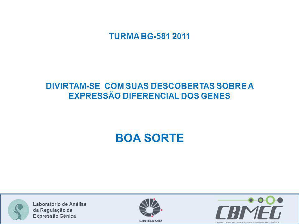 Laboratório de Análise da Regulação da Expressão Gênica TURMA BG-581 2011 DIVIRTAM-SE COM SUAS DESCOBERTAS SOBRE A EXPRESSÃO DIFERENCIAL DOS GENES BOA SORTE