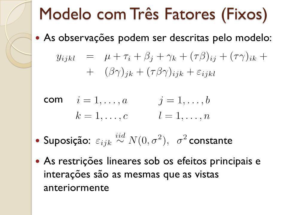Modelo com Três Fatores (Fixos) As observações podem ser descritas pelo modelo: com Suposição: constante As restrições lineares sob os efeitos princip