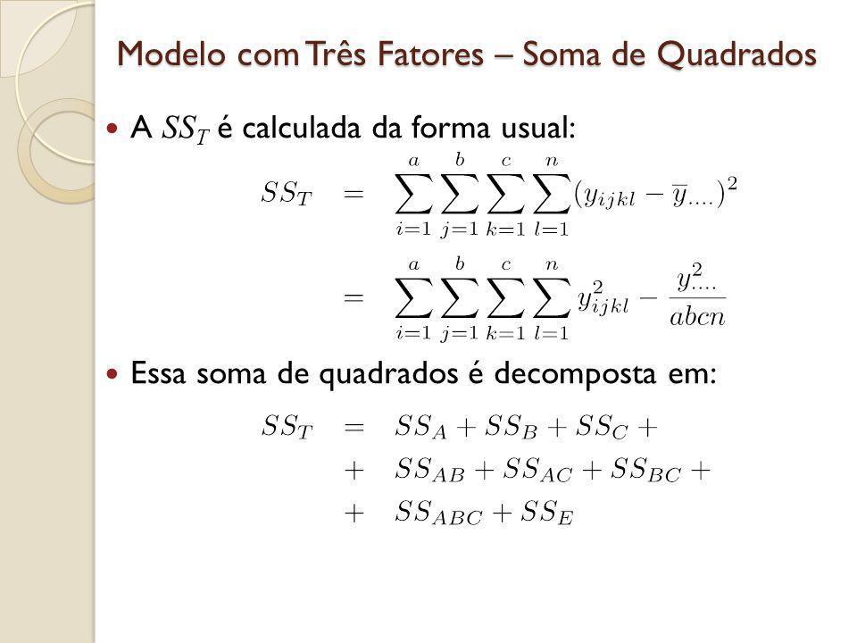 Modelo com Três Fatores – Soma de Quadrados A SS T é calculada da forma usual: Essa soma de quadrados é decomposta em: