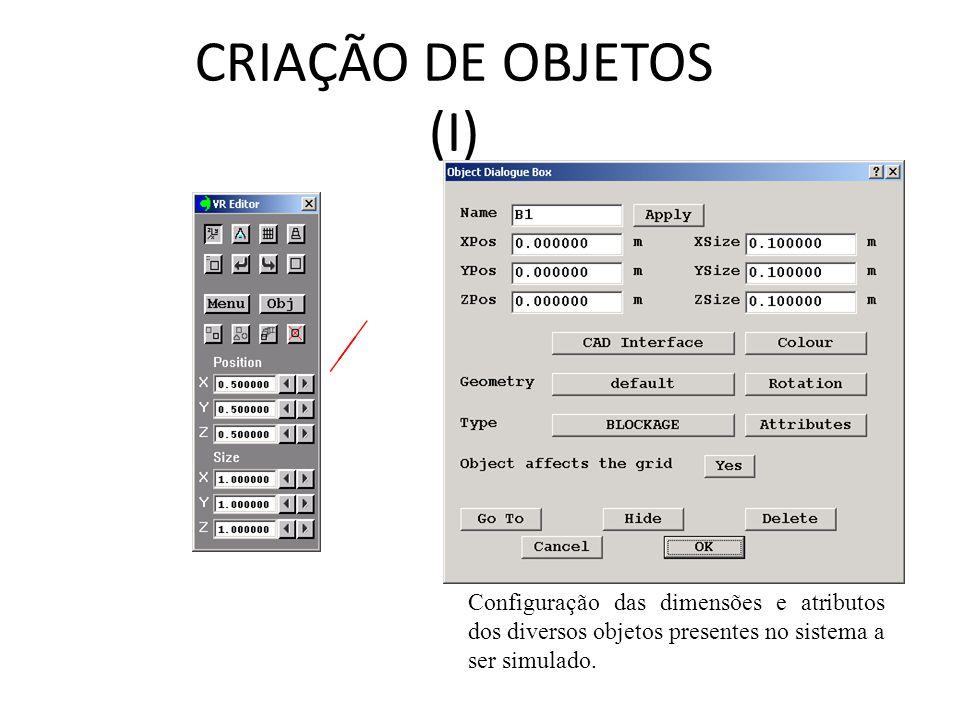 CRIAÇÃO DE OBJETOS (I) Configuração das dimensões e atributos dos diversos objetos presentes no sistema a ser simulado.