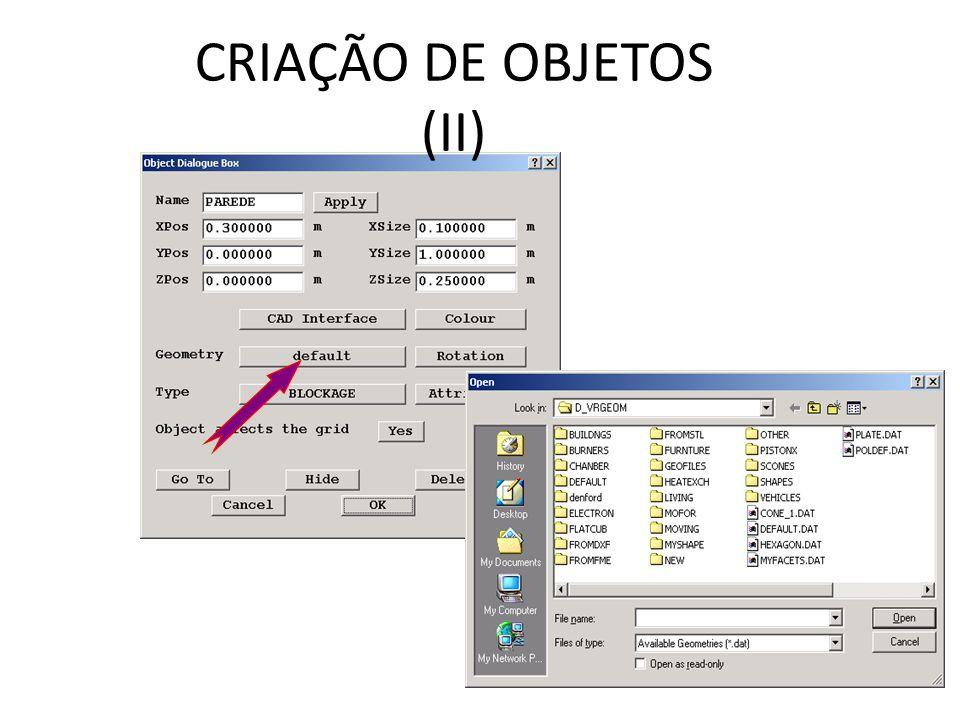 CRIAÇÃO DE OBJETOS (II)