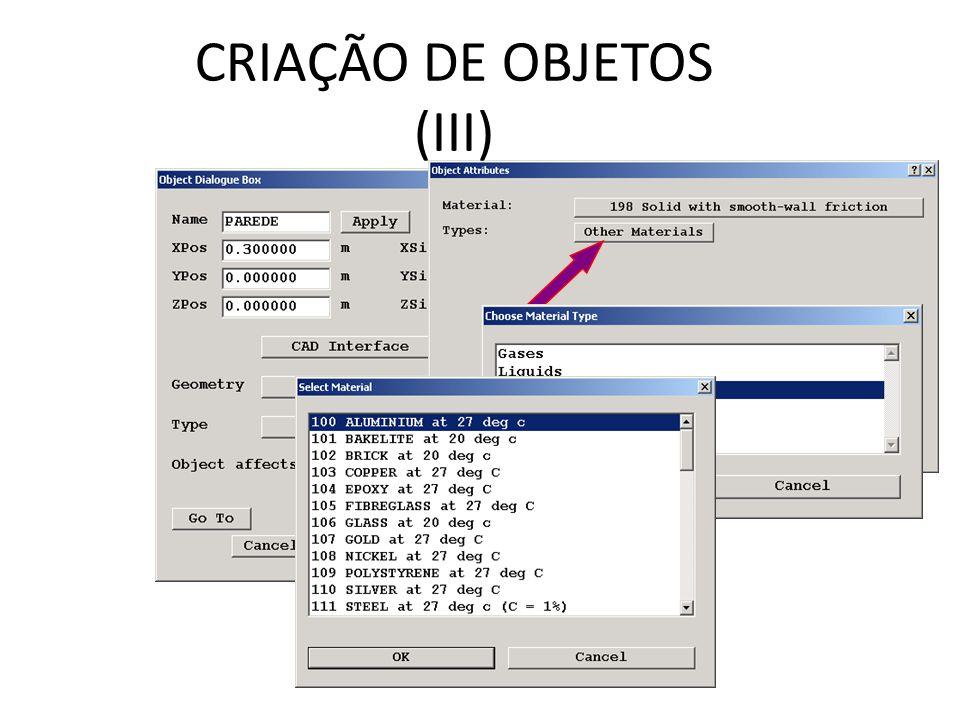 CRIAÇÃO DE OBJETOS (III)