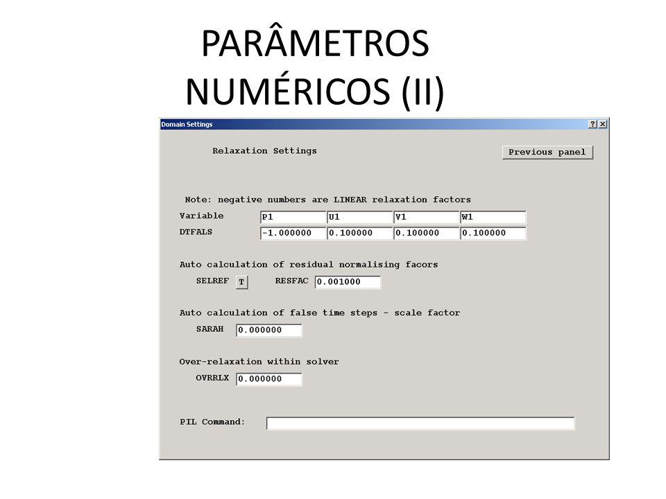 PARÂMETROS NUMÉRICOS (II)