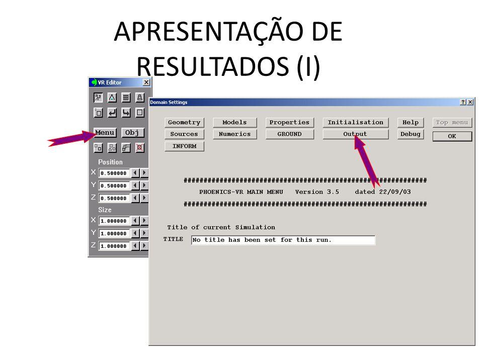 APRESENTAÇÃO DE RESULTADOS (I)