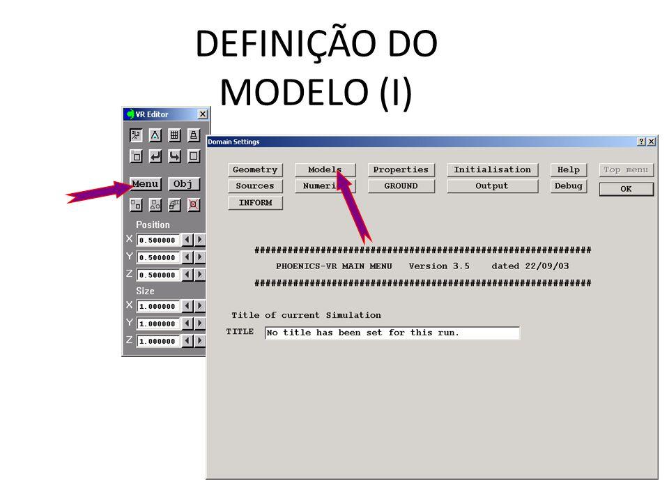 DEFINIÇÃO DO MODELO (I)
