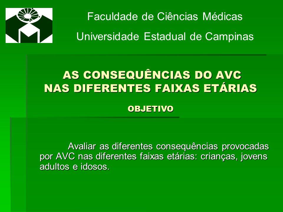 AS CONSEQUÊNCIAS DO AVC NAS DIFERENTES FAIXAS ETÁRIAS JUSTIFICATIVA AS CONSEQUÊNCIAS DO AVC NAS DIFERENTES FAIXAS ETÁRIAS JUSTIFICATIVA As consequências do AVC são quadros clínicos e elas representam problemas socias e humanos de grandes magnitudes.