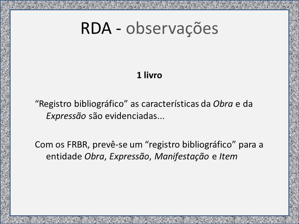 RDA - observações 1 livro Registro bibliográfico as características da Obra e da Expressão são evidenciadas...