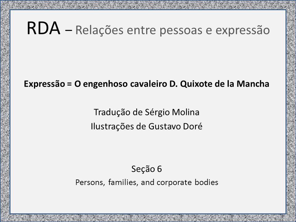 RDA – Relações entre pessoas e expressão Expressão = O engenhoso cavaleiro D.