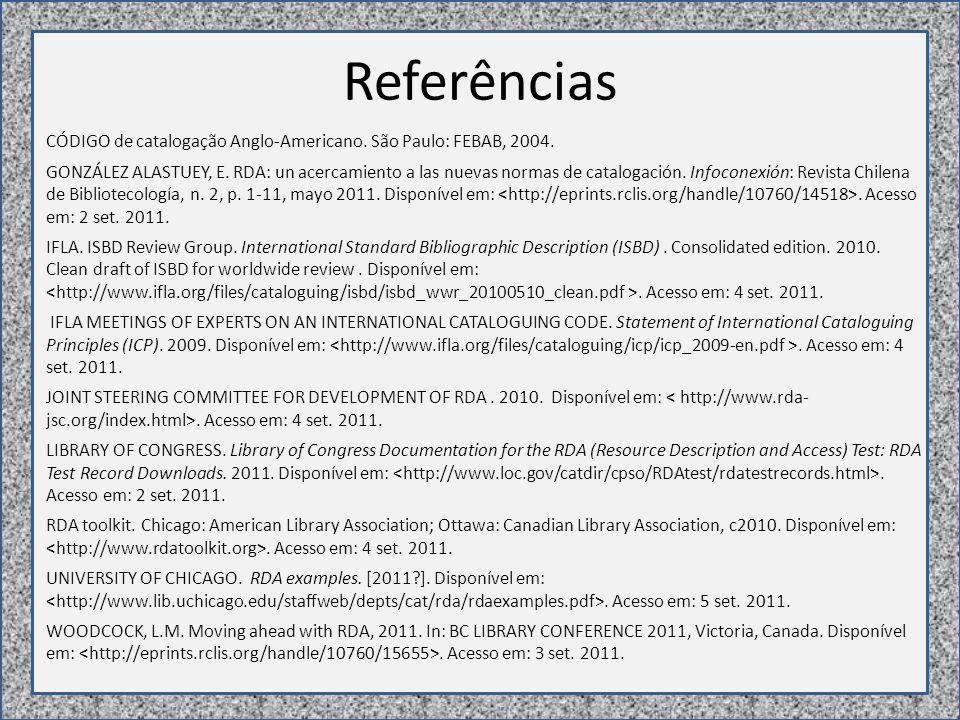 Referências CÓDIGO de catalogação Anglo-Americano.