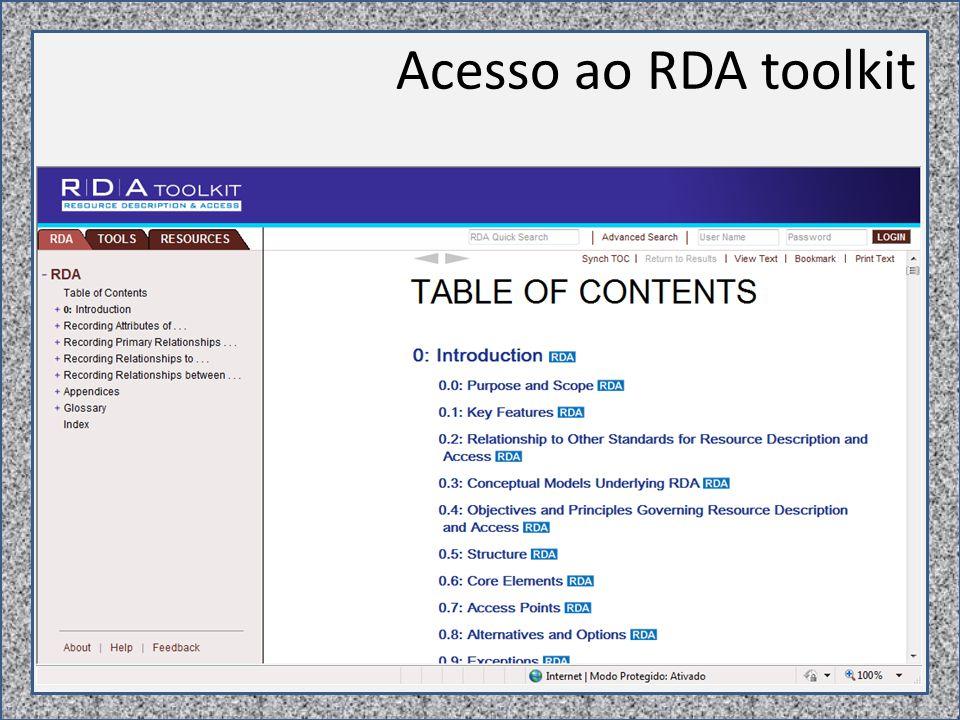 Acesso ao RDA toolkit