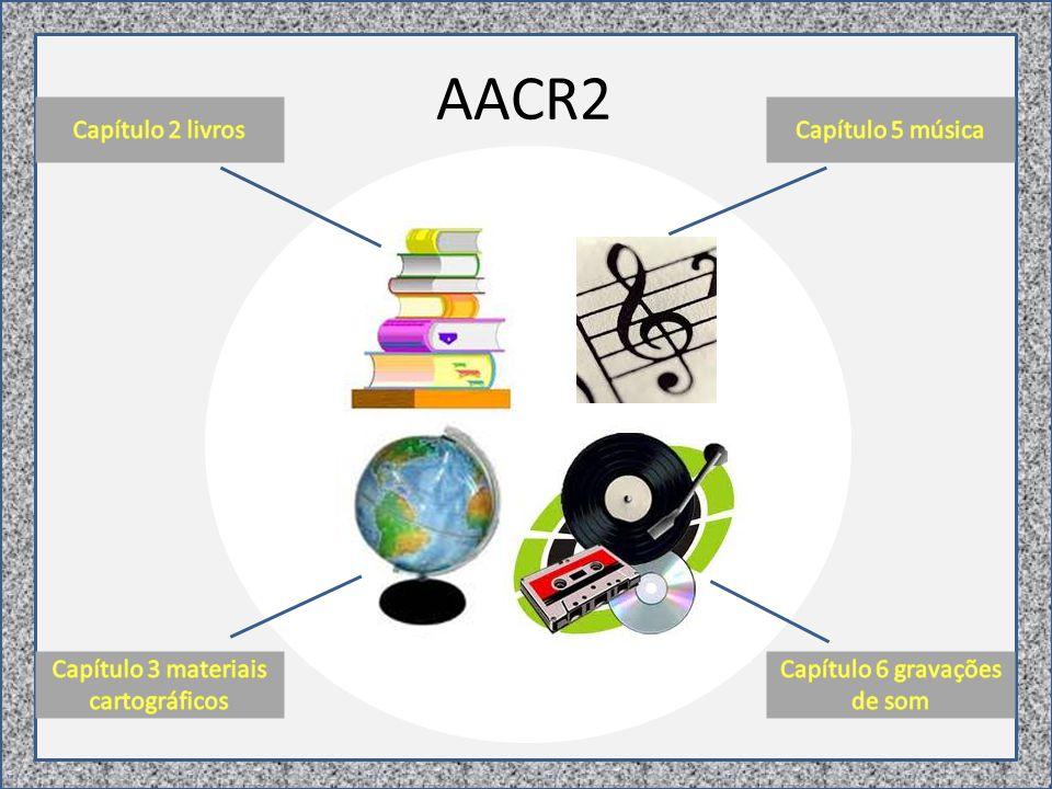 AACR2 - Parte I 1 - Regras Gerais de Descrição 2 - Livros, Folhetos e Folhas Impressas 3 - Materiais Cartográficos 4 - Manuscritos (incluindo Coleções Manuscritas) 5 - Música 6 - Gravações de Som 7 - Filmes Cinematográficos e Gravações de Vídeo 8 - Materiais Gráficos 9 - Recursos Eletrônicos 10 - Artefatos Tridimensionais e Realia 11 - Micro formas 12 - Recursos Contínuos 13 - Análise