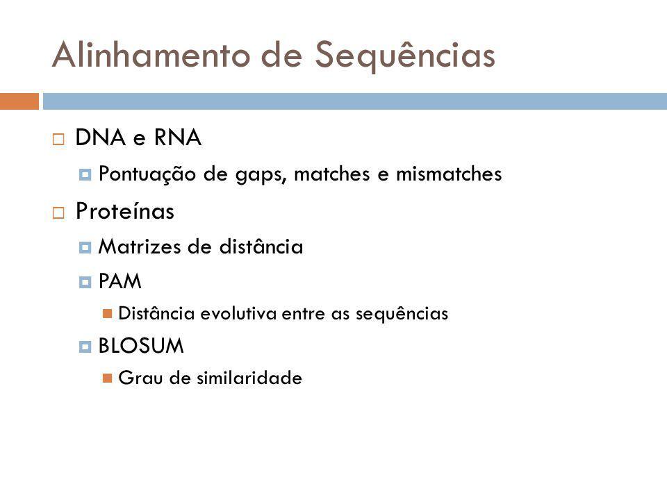 Alinhamento de Sequências DNA e RNA Pontuação de gaps, matches e mismatches Proteínas Matrizes de distância PAM Distância evolutiva entre as sequência