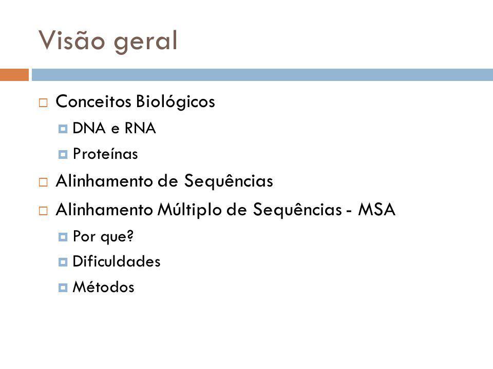 Visão geral Conceitos Biológicos DNA e RNA Proteínas Alinhamento de Sequências Alinhamento Múltiplo de Sequências - MSA Por que? Dificuldades Métodos