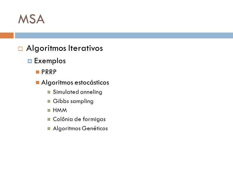 MSA Algoritmos Iterativos Exemplos PRRP Algoritmos estocásticos Simulated anneling Gibbs sampling HMM Colônia de formigas Algoritmos Genéticos