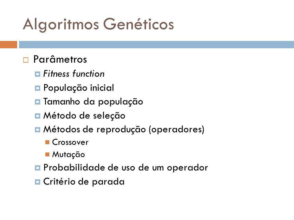 Algoritmos Genéticos Parâmetros Fitness function População inicial Tamanho da população Método de seleção Métodos de reprodução (operadores) Crossover
