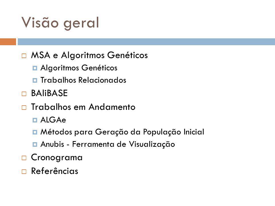 Visão geral MSA e Algoritmos Genéticos Algoritmos Genéticos Trabalhos Relacionados BAliBASE Trabalhos em Andamento ALGAe Métodos para Geração da Popul