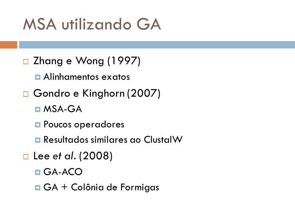 MSA utilizando GA Zhang e Wong (1997) Alinhamentos exatos Gondro e Kinghorn (2007) MSA-GA Poucos operadores Resultados similares ao ClustalW Lee et al