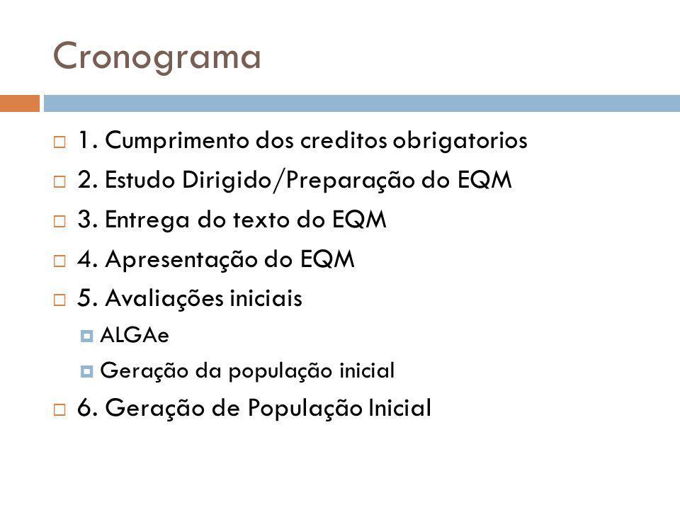 Cronograma 1. Cumprimento dos creditos obrigatorios 2. Estudo Dirigido/Preparação do EQM 3. Entrega do texto do EQM 4. Apresentação do EQM 5. Avaliaçõ