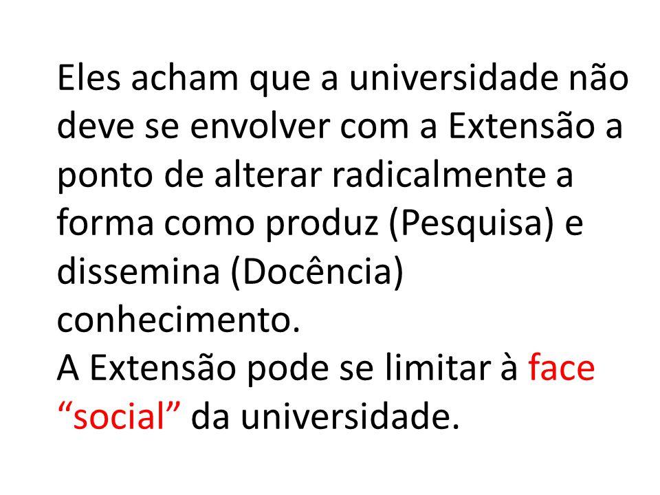 Eles acham que a universidade não deve se envolver com a Extensão a ponto de alterar radicalmente a forma como produz (Pesquisa) e dissemina (Docência