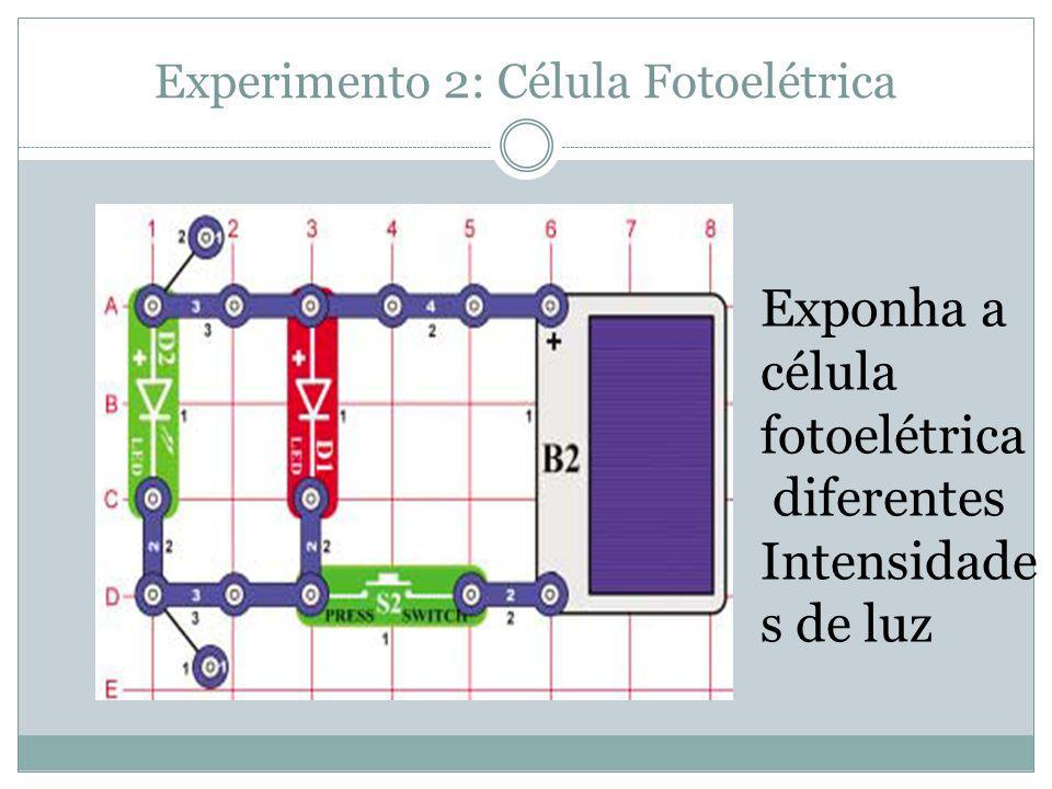 Experimento 2: Célula Fotoelétrica Exponha a célula fotoelétrica diferentes Intensidade s de luz