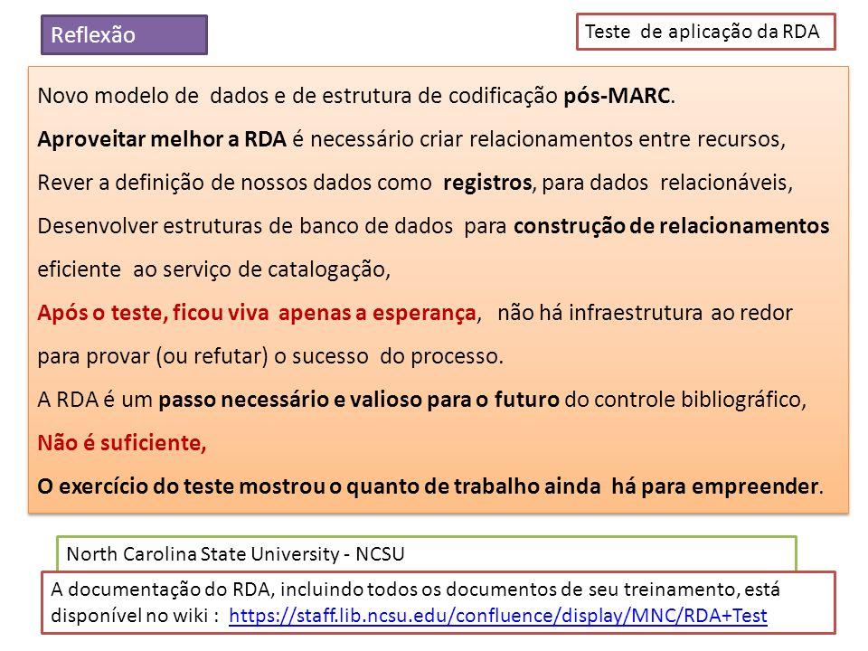 Novo modelo de dados e de estrutura de codificação pós-MARC. Aproveitar melhor a RDA é necessário criar relacionamentos entre recursos, Rever a defini