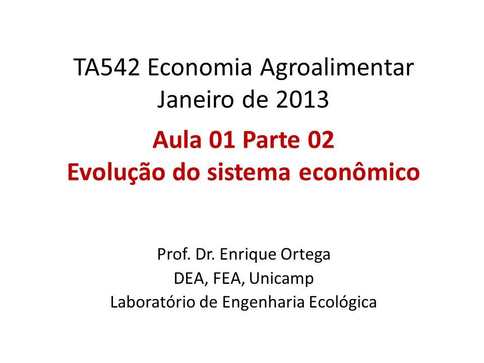 TA542 Economia Agroalimentar Janeiro de 2013 Aula 01 Parte 02 Evolução do sistema econômico Prof.