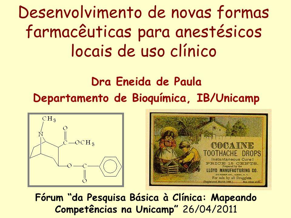 Desenvolvimento de novas formas farmacêuticas para anestésicos locais de uso clínico Dra Eneida de Paula Departamento de Bioquímica, IB/Unicamp Fórum