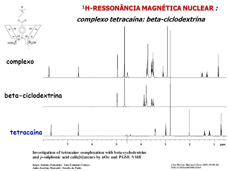 1 H-RESSONÂNCIA MAGNÉTICA NUCLEAR : 1 H-RESSONÂNCIA MAGNÉTICA NUCLEAR : complexo tetracaína: beta-ciclodextrina tetracaína beta-ciclodextrina complexo