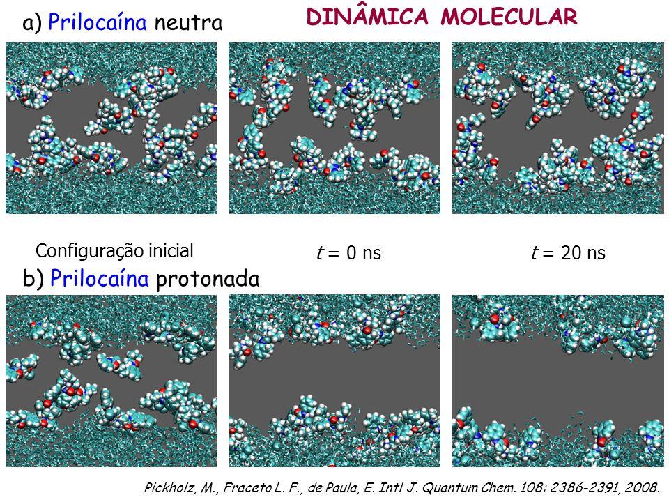 a) Prilocaína neutra Configuração inicial t = 0 nst = 20 ns b) Prilocaína protonada DINÂMICA MOLECULAR Pickholz, M., Fraceto L. F., de Paula, E. Intl