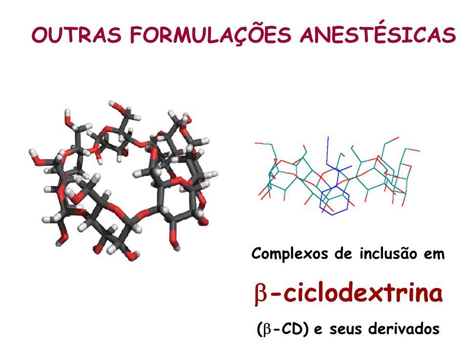 OUTRAS FORMULAÇÕES ANESTÉSICAS Complexos de inclusão em -ciclodextrina ( -CD) e seus derivados