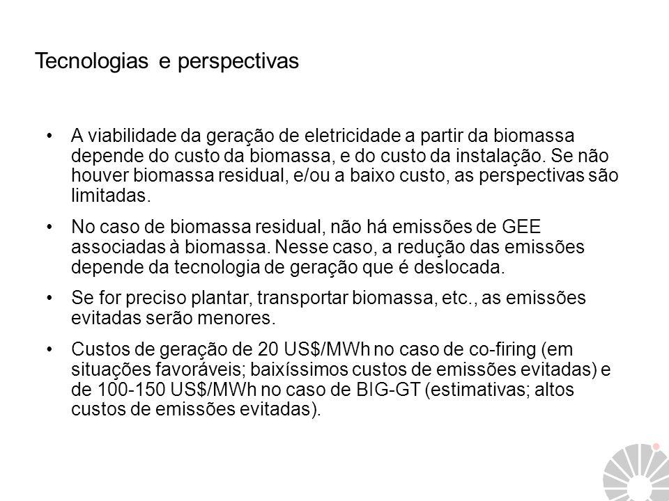 Tecnologias e perspectivas A viabilidade da geração de eletricidade a partir da biomassa depende do custo da biomassa, e do custo da instalação. Se nã