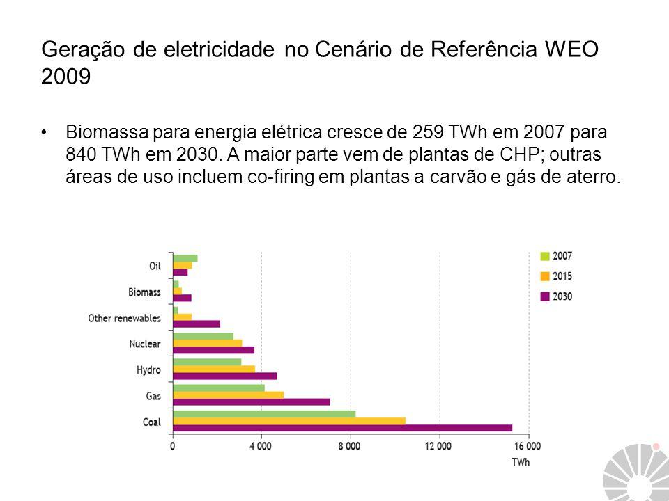 Geração de eletricidade no Cenário de Referência WEO 2009 Biomassa para energia elétrica cresce de 259 TWh em 2007 para 840 TWh em 2030. A maior parte