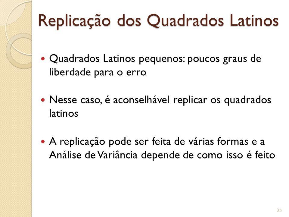 Replicação dos Quadrados Latinos Quadrados Latinos pequenos: poucos graus de liberdade para o erro Nesse caso, é aconselhável replicar os quadrados la