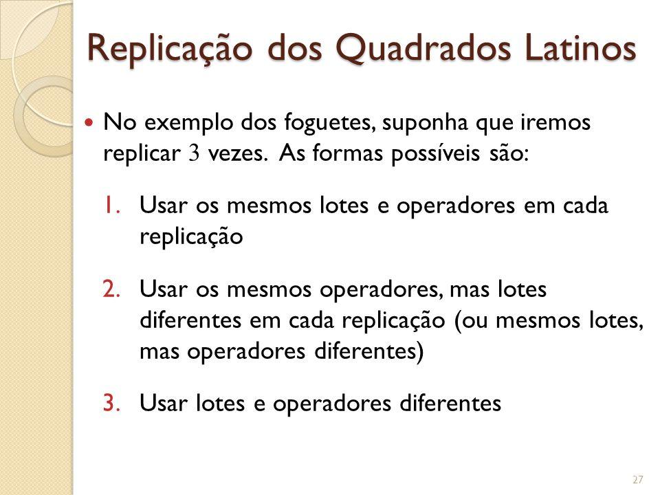 Replicação dos Quadrados Latinos No exemplo dos foguetes, suponha que iremos replicar 3 vezes. As formas possíveis são: 1.Usar os mesmos lotes e opera