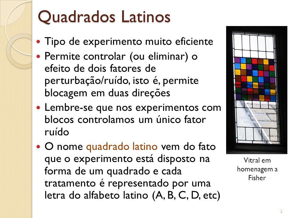 Quadrados Latinos Tipo de experimento muito eficiente Permite controlar (ou eliminar) o efeito de dois fatores de perturbação/ruído, isto é, permite b